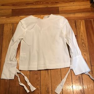 White blouse with tie sleeves